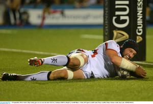 Ulster's Dan Tuohy goes over to score his side's first try last night