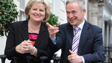 Minister for Jobs, Enterprise and Innovation, Richard Bruton, T.D., with Angela Kerins, Chief Executive, Rehab Group. Picture: Damien Eagers