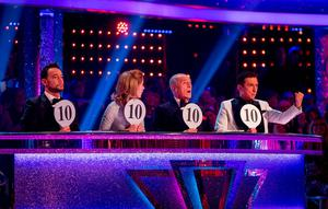 Judges (left-right) Craig Revel Horwood, Darcey Bussell, Len Goodman and Bruno Tonioli during the final of Strictly Come Dancing. Guy Levy/BBC/PA Wire