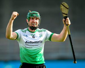 Johnny McCaffrey of Lucan Sarsfields celebrates after the Dublin SHC quarterfinal win over Kilmacud Crokes at Parnell Park