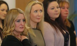 Roisin Molloy (left) during the launch of a report into the deaths of four babies at the Midlands Regional Hospital Portlaoise in Dublin, as her son died 22 minutes after birth at the hospital on January 24 2012. PRESS ASSOCIATION Photo. Picture date: Friday February 28, 2014. The report, launched at Pearse Street Library, Dublin, found their mothers and fathers got limited respect, kindness, courtesy and consideration after raising concerns about the deaths. See PA story POLITICS Portlaoise Ireland. Photo credit should read: Niall Carson/PA Wire