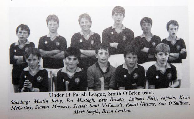 (4th from left back row) Anthony Foley pictured with the Under 14 parish league, Smith O'Brien team.