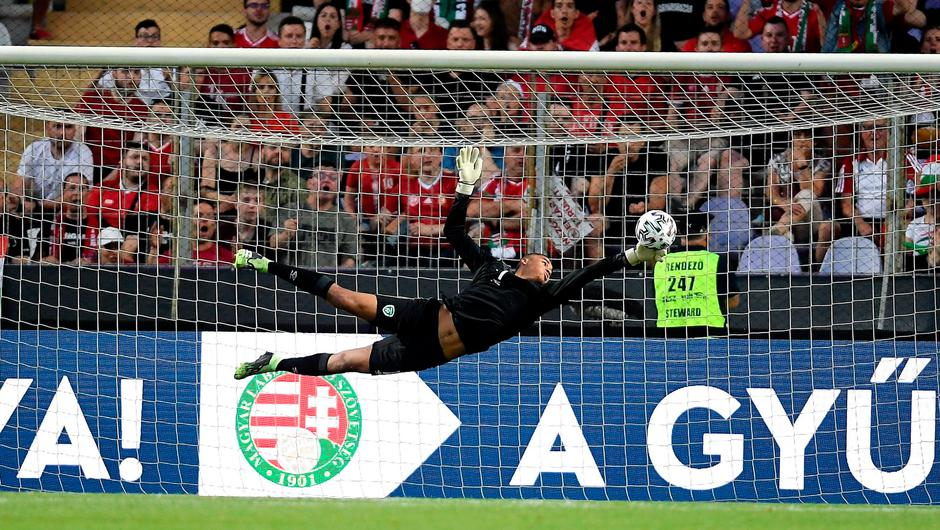 Ireland goalkeeper Gavin Bazunu makes a save during the draw with Hungary at the Szusza Ferenc Stadion in Budapest. Photo: Alex Nicodim/Sportsfile