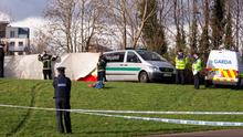 Gardai investigate the deaths of a father and son at the Royal canal at Ashington on the Navan road in Dublin. Picture: Arthur Carron