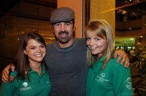 Hollywood actor Colin Farrell with Clara Hutchinson, Carlow Town, and Kate McSweeney, Goatstown, Dublin,