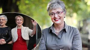 Minister Katherine Zappone, centre, and Ms Zappone with her late wife Ann Louise Gilligan at their wedding in Dublin after the Yes vote for Marriage Equality was passed, inset