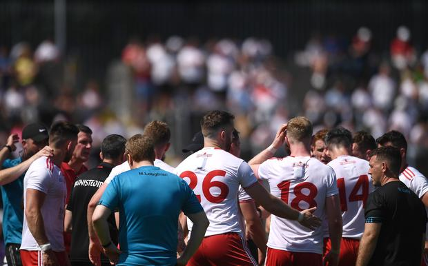 Tyrone players take a water-break during the Ulster GAA Football Senior Championship Semi-Final match against Donegal. Photo by Ben McShane/Sportsfile