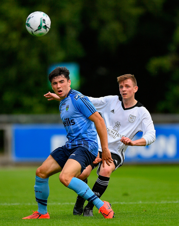Ryan Lonergan of Letterkenny Rovers in action against Liam Kerrigan of UCD. Photo by Seb Daly/Sportsfile