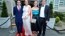 Dara O'Brien (17), Ciara Foley (18) wearing Brown Thomas, Roisin O'Byrne (18) wearing Coast and Hugh Milligan (18) at the Santa Sabina Domincan College Debs