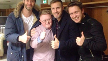 Conor Kenny meeting his idols Take That at The Late Late Show. Credit: Twitter/Universal Music Ireland