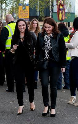 Grainne  and Sile Seoige at the Beyonce concert at the O2, Dublin.