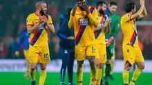 Crystal Palace's Andros Townsend (left) and Christian Benteke celebrate