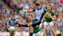 Bernard Brogan takes a shot for Dublin against Kerry in the 2013 All-Ireland semi-final. Picture credit: Stephen McCarthy / SPORTSFILE