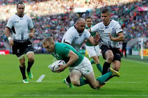 Ireland's Keith Earls scores their third try