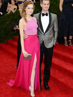 """Actors Emma Stone (L) and Andrew Garfield attend the """"Charles James: Beyond Fashion"""" Costume Institute Gala at the Metropolitan Museum of Art"""