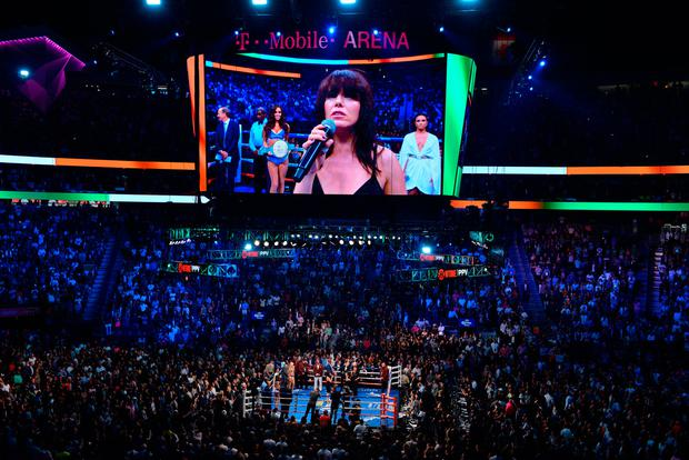 Imelda May performs the Irish national anthem before the fight at the T-Mobile Arena, Las Vegas. Photo: PA Wire/PA Wire.