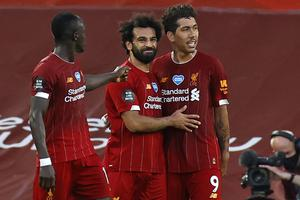 Liverpool strikers (l-r) Sadio Mané, Mohamed Salah and Roberto Firmino need to find their form against Manchester United. Photo: Phil Noble/AFP via Getty Images