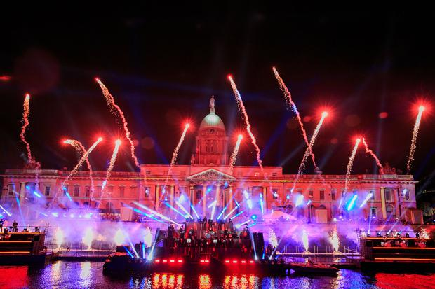 Lights and lasers during the Liffey Lights Midnight Moment Matinee at the Custom House.