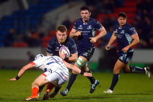 Finlay Bealham of Connacht is tackled by Curtis Langdon of Sale