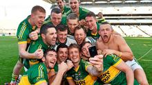 Kerry players pose for a 'selfie' after their victory over Donegal. Picture credit: Ramsey Cardy / SPORTSFILE