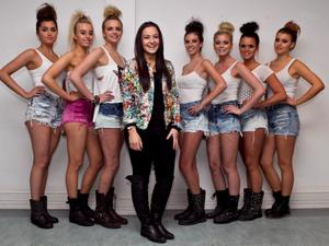 Clodagh Lennon, Clare Murray, Thea Shannon, Jenny Mooney, Jess Redden, Emily Daly and Jessi Mackey pictured all wearing Shorts made by Ali Delaney (centre) of Custom Vintage Dublin, during the IADT Fashion show in Dun Laoghaire. Photo by Kyran O'Brien