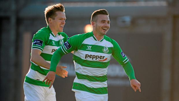 8 June 2015; Shamrock Rovers' Michael Drennan, right, celebrates with team-mate Simon Madden after he scored his side's first goal. SSE Airtricity League Premier Division, Shamrock Rovers v Derry City,  Tallaght Stadium, Tallaght, Co. Dublin. Picture credit: Dáire Brennan / SPORTSFILE