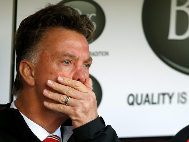 Manchester United manager Louis Van Gaal reacts during their English Premier League soccer match against Burnley at Turf Moor