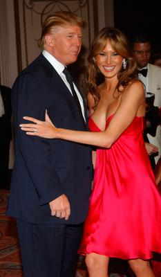 Donald Trump and Melania Trump arrive at the Breast Cancer Research Foundation's Annual Hot Pink Party at the Waldorf-Astoria on April 20, 2005 in New York. (Photo by Brad Barket/Getty Images)