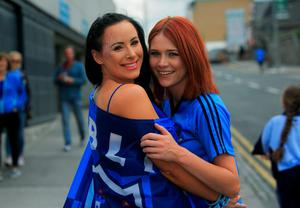 30/08/2015   GAA fans Aine McClean from Swords & Martina Fahey from Blanchardstown at the GAA Semi Final between Dublin & Mayo in Croke Park, Dublin. Photo: Gareth Chaney Collins