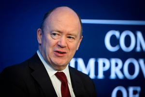 John Cryan, Chief Executive Officer of Deutsche Bank, speaks during a panel session on the first day of the 47th annual meeting of the World Economic Forum, WEF, in Davos, Switzerland, Tuesday, Jan. 17, 2017. (Gian Ehrenzeller/Keystone via AP)