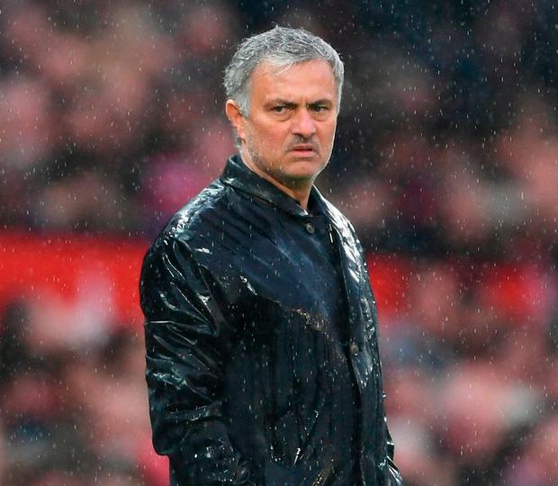 Jose Mourinho cuts an unimpressed figure during Manchester United's defeat to West Brom at Old Trafford. Photo: Laurence Griffiths/Getty Images