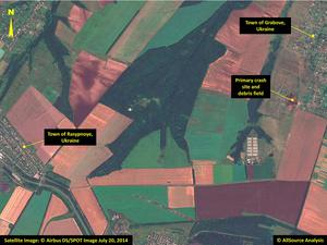 Satellite image shows the primary crash site, at top right, of Malaysia Airlines Flight 17 located near Hrabove, eastern Ukraine. Photo: AP / Airbus DS/AllSource Analysis