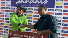 Ireland's Paul Stirling won the Player of the Match award following the T-20 clash with West Indies. Image credit: Cricket Ireland.