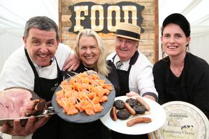 Peter Ward, Birgitta Curtin, Burren Smoke House; Sean Kelly, Kelly's of Newport; Hazel Finney, Mossfield Organic Farm who are some of the producers and chefs creating Ireland on a plate for 20,000 Web Summit