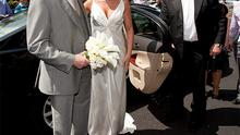 Laura Priestley with her father Maurice arriving to the church for her wedding to Johnny Sexton in Adare, Co Limerick