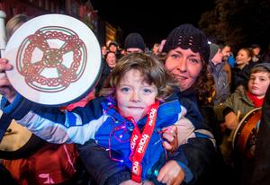 Ethan Smith, age 5, Sandycove with his mum Tara at the NYF Bodhran Session World Record attempt at St Stephen's Green, part of the New Years Festival in Dublin. nyf.com running from 30th Dec to 1st Jan in Dublin