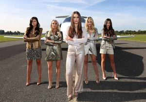 Carla Jackson,Sinead Duffy,Roz Purcell,Kerrie Nicole Blanc and Aoife Hannon  pictured  when  The Gold Fever Jet Set touched down at Weston Airport  to announce details of  The Gold Fever Hair Extensions  Miss Universe Ireland Competition