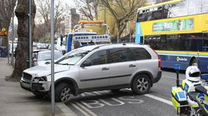 A Volvo jeep on Waterloo Road following the incident. Picture: Damien Eagers
