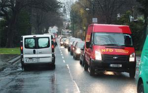 Traffic gridlock in Ballybrack Village, trying to avoid flood on the M11 at Bray. Photo: Ray Cullen