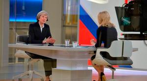 British Prime Minister Theresa May is interviewed by Sophy Ridge on Sky News in London yesterday. Photo: PA