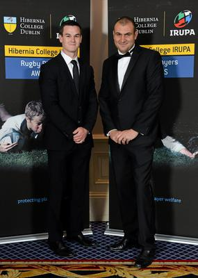 IRUPA Chairman and Leinster out-half Jonathan Sexton, left, and Omar Hassanein, Chief Executive IRUPA, in attendance at the Hibernia College IRUPA Rugby Player Awards 2013. Burlington Hotel, Dublin. Picture credit: Brendan Moran / SPORTSFILE