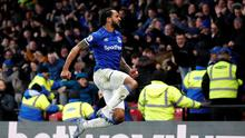 Everton's Theo Walcott celebrates scoring their third goal in the Premier League win over Watford at Vicarage Road. Photo: Reuters/David Klein