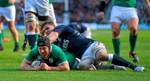 Sean O'Brien scores his side's second try against Scotland.