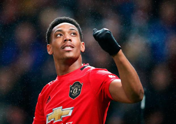 Anthony Martial celebrates scoring Manchester United's second goal of the game. PA Photo