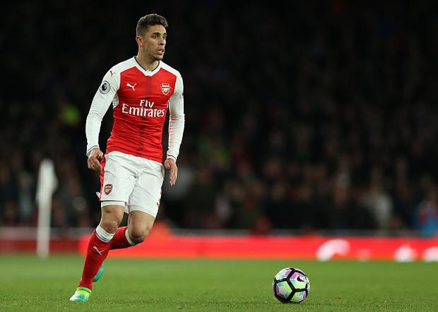 April 26th 2017, The Emirates, Arsenal, London England, EPL Premier League football, Arsenal FC versus Leicester City; Gabriel Paulista of Arsenal brings the ball forward (Photo by John Patrick Fletcher/Action Plus via Getty Images)