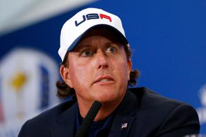 AUCHTERARDER, SCOTLAND - SEPTEMBER 28: Phil Mickelson of the United States talks during a press conference after the United States were defeated by Europe after the Singles Matches of the 2014 Ryder Cup on the PGA Centenary course at the Gleneagles Hotel on September 28, 2014 in Auchterarder, Scotland.  (Photo by Harry Engels/Getty Images)