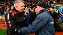 Mayo manager Stephen Rochford, left, with Dublin manager Jim Gavin