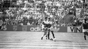 Republic of Ireland v Egypt in the Stadio Della Favorita, Palermo. The score was Republic of Ireland 0 - Egypt 0. 17/6/1990 (Part of the NPA and Independent Newspapers)