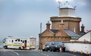 The search and rescue at first light at Blacksod Pier after the Rescue 116 helicopter crash. Picture: Steve Humphreys
