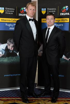 Leinster's Leo Cullen, left, and Brian O'Driscoll in attendance at the Hibernia College IRUPA Rugby Player Awards 2013. Burlington Hotel, Dublin. Picture credit: Brendan Moran / SPORTSFILE